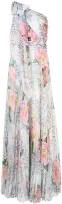 Marchesa one-shoulder draped floral dress
