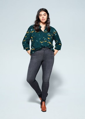 MANGO Violeta BY Chest-pocket printed blouse green - 10 - Plus sizes