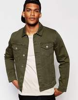 Asos Slim Denim Jacket in Khaki
