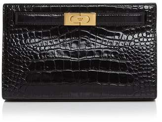 Tory Burch Lee Radziwill Embossed Leather Clutch