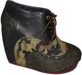 Irregular Choice Camouflage What an Angel Leather Wedge Bootie