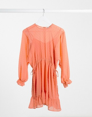 ASOS DESIGN dobby batwing mini dress with drawstring waist in coral