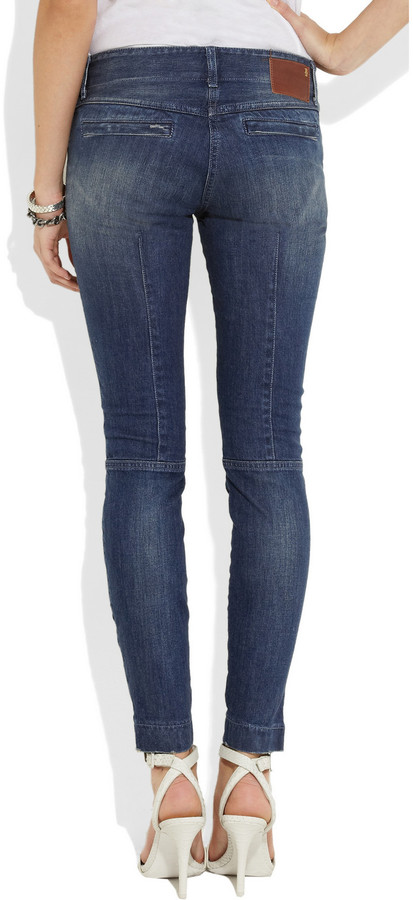 R 13 Moto low-rise skinny jeans