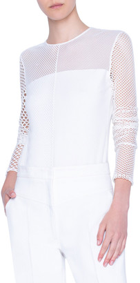 Akris Punto Mesh-Yoke Long-Sleeve Shirt