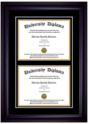 "Perfect Cases, Inc. Double Diploma Frame with Double Matting, Premium Black, 11""x14"""