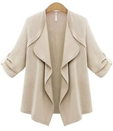Friendshop Womens Plus Size Roll up Sleeve Open Front Cardigan Jacket Blazer
