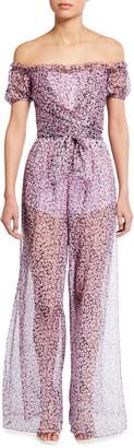 Zara Floral Off-the-Shoulder Semisheer Jumpsuit