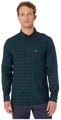 Lacoste Long Sleeve Checks Twill Woven Regular Shirt (Navy Blue/Beeche) Men's Clothing