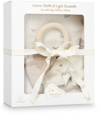 CAM Swaddle and Leaves Rattle Gift Box