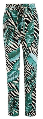 Dorothy Perkins Womens Zebra Palm Print Tie Joggers