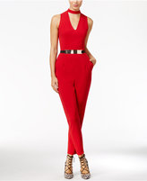 Material Girl Juniors' Belted Choker Jumpsuit, Only at Macy's