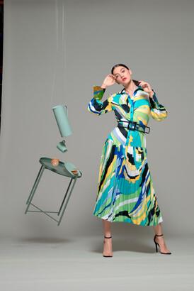 Isabel Sanchis Long Sleeve Belted Midi-Tea Dress