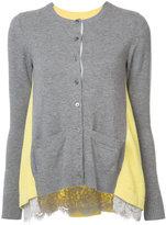 Sacai lace trim cardigan - women - Cotton/Cupro/Wool - 2
