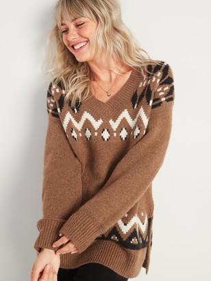 Old Navy Slouchy Fair Isle V-Neck Tunic Sweater for Women