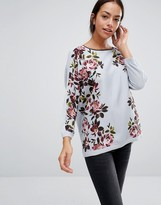Oasis Woven Front Top With Rose Print