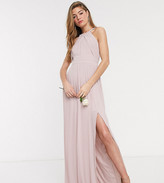 TFNC Tall Tall bridesmaid exclusive pleated maxi dress in pink