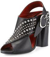 3.1 Phillip Lim Patsy Studded Leather Crisscross Sandal, Black