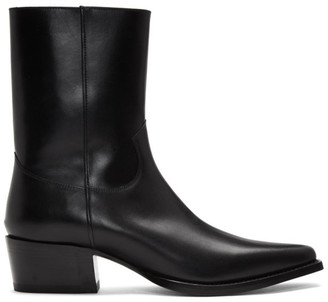 DSQUARED2 Black Leather Zip-Up Boots