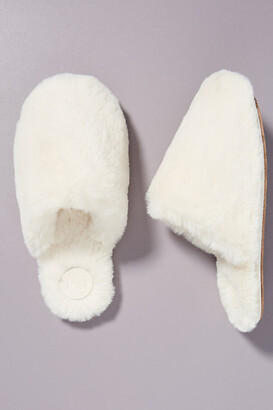 Anthropologie Sadie Faux Fur Slippers By in Beige Size S/M