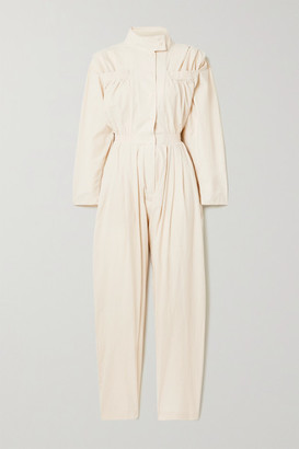 PARADISED Alex Pleated Cotton-crepe Jumpsuit - Beige