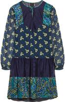 Anna Sui Flourish lace-paneled printed crinkled-satin mini dress