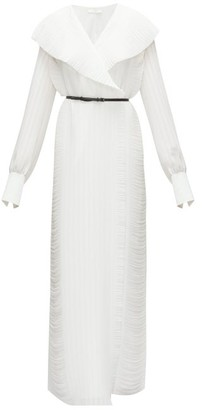 The Row Hania Belted Plisse-georgette Maxi Wrap Dress - Ivory