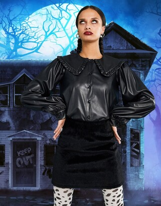 ASOS DESIGN long sleeve leather look shirt with ruffle collar
