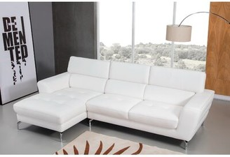 Orren Ellis LidiaAdia Left Hand Facing Leather Sectional Upholstery Color: White