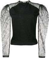 Saint Laurent cashmere lace sleeve jumper - women - Polyester/Cashmere - S
