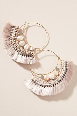 Anthropologie Mattie Hoop Earrings By in Beige Size ALL
