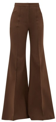 Françoise Francoise - Tailored Cotton-blend Crepe Flared Trousers - Womens - Brown
