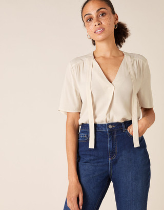 Monsoon Tie Front Short Sleeve Top with LENZING ECOVERO Cream