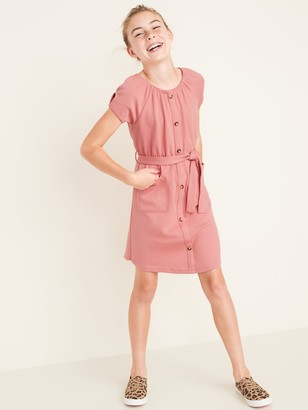 Old Navy Thick-Knit Tie-Belt Button-Front Dress for Girls