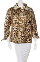 Oscar de la Renta Leopard Print Zip-Up Jacket