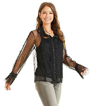 SONJA BETRO Amazon Brand Women's Pokdot Mesh Lace Sheer Sexy Ruffle Long Sleeve Shirt Blouse Top Black
