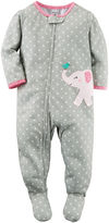 Carter's Girl Long-Sleeve Elephant Dot Footed Pajamas - Toddler Girls 2t-5t