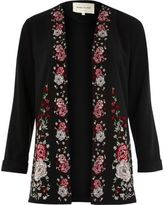 River Island Womens Black floral embroidered duster jacket