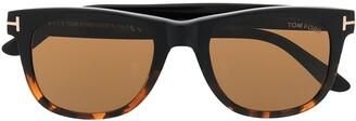 Tom Ford Tortoiseshell-Effect Logo-Plaque Sunglasses
