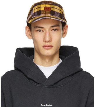 Acne Studios Yellow Plaid Baseball Cap