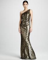 David Meister Metallic Leopard-Print Gown