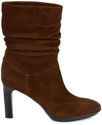 Aquatalia Raegan Weatherproof Suede Stacked-Heel Boots