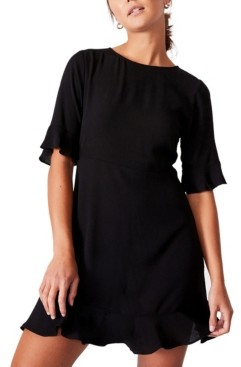 Cotton On Women's Woven Thelma Retro 3/4 Sleeve Fit and Flare Shift Mini Dress