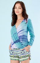 Hale Bob Marley Tie-Dyed Wrap Top In Teal