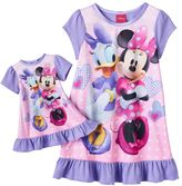 Disney Disney's Minnie Mouse & Daisy Duck Toddler Girl Ruffled Nightgown & Doll Dress Set