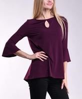 Lbisse Women's Blouses Solid - Burgundy Keyhole Three-Quarter Sleeve Tunic - Women