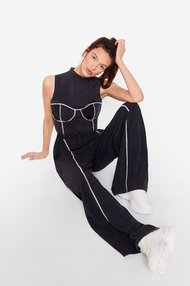 Nasty Gal Womens Cropped High Neck Seam Detailing Workout Top - Black