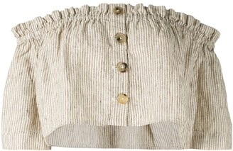 Venroy striped strapless cropped top