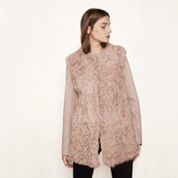 Maje Short fur and leather coat