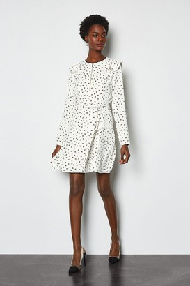 Karen Millen Graphic Ruffle Long Sleeve Dress