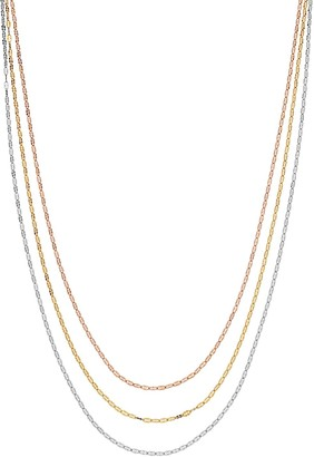 Sterling Silver Tri-Tone Twisted Draped Multi-Strand Necklace
